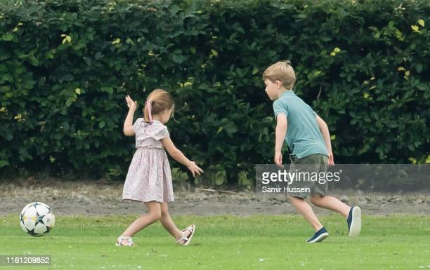 Prince George and Princess Charlotte attend The King Power Royal Charity Polo Day at Billingbear Polo Club on July 10, 2019 in Wokingham, England.