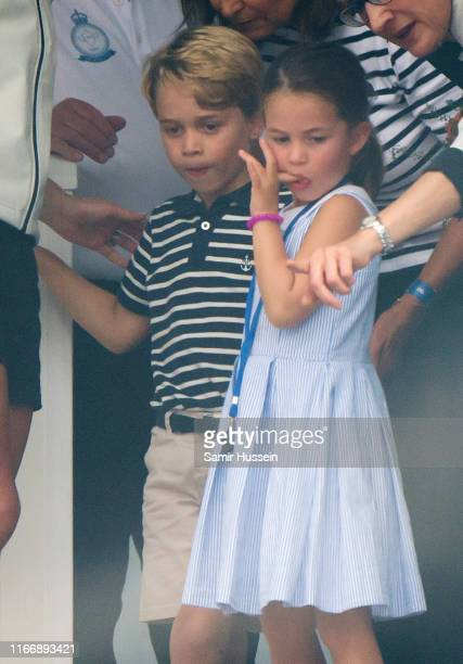 Prince George and Princess Charlotte attend the presentation following the King's Cup Regatta on August 08, 2019 in Cowes, England.
