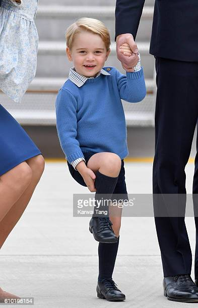 Prince George arrives at Victoria Airport ahead of their Royal Tour of Canada and Yukon on September 24 2016 in Victoria Canada
