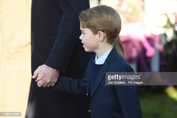 Prince George arriving to attend the Christmas Day morning church service at St Mary Magdalene Church in Sandringham, Norfolk.