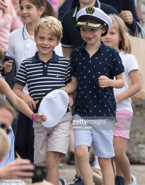 Prince George at The Royal Yacht Squadron during the inaugural Kings Cup regatta hosted by the Duke and Duchess of Cambridge on August 08 2019 in...