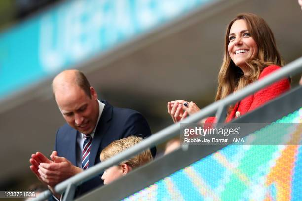 Prince George, Catherine the Duchess of Cambridge and Prince William, The Duke of Cambridge and the president of England's Football Association...