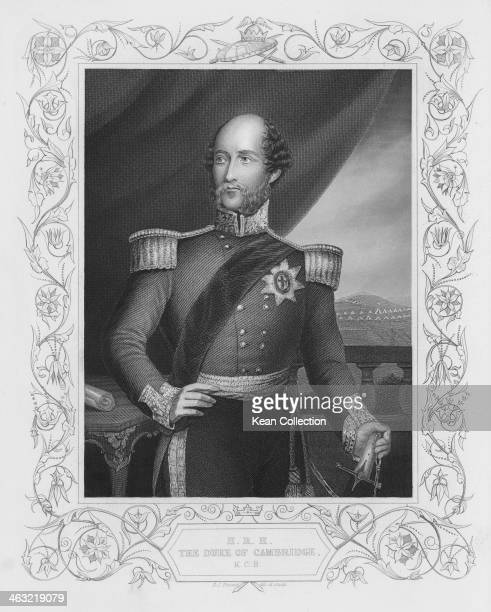 Prince George Duke of Cambridge born George William Frederick Charles circa 1850 He is wearing the Order of the Garter Star Drawn and engraved by D J...