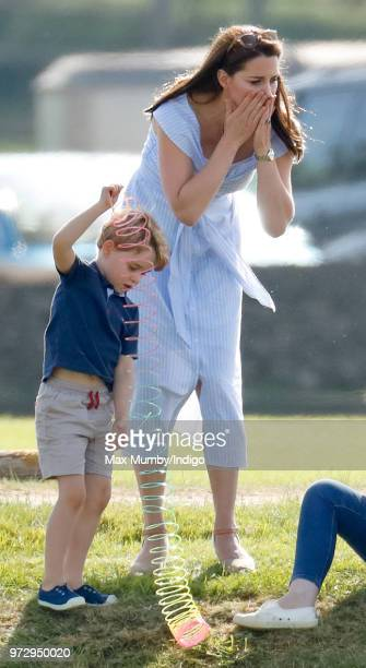 Prince George of Cambridge and Catherine Duchess of Cambridge attend the Maserati Royal Charity Polo Trophy at the Beaufort Polo Club on June 10 2018...