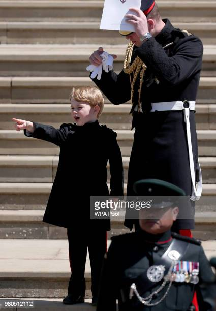 Prince George of Cambridge and Prince William Duke of Cambridge after the wedding of Prince Harry and Ms Meghan Markle at St George's Chapel at...