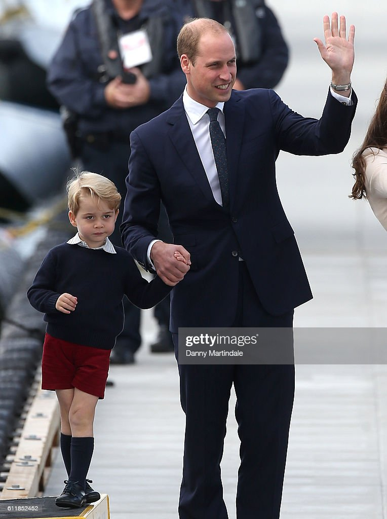 Prince George of Cambridge and Prince William, Duke of Cambridge, are seen leaving from Victoria Harbour Airport on October 1, 2016 in Victoria, Canada.