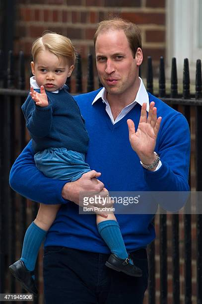 Prince George of Cambridge and Prince William, Duke of Cambridge arrive at the Lindo Wing after Catherine, Duchess of Cambridge gave birth to a baby...