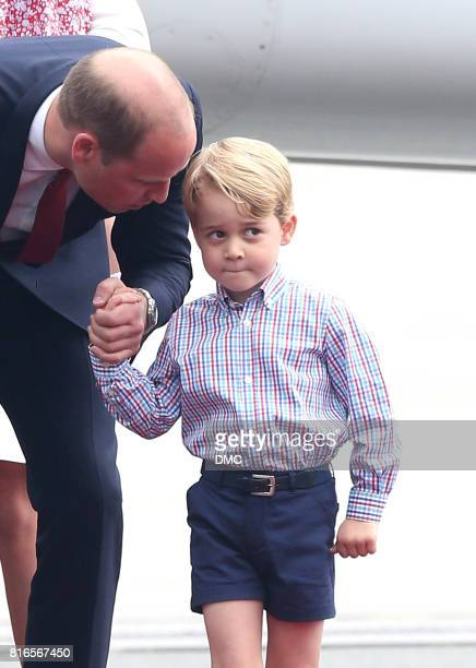 Prince George of Cambridge and Prince William Duke of Cambridge arrive at Warsaw Airport during an official visit to Poland and Germany on July 17...