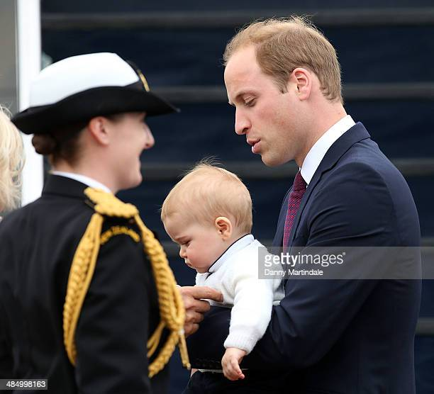 Prince George of Cambridge and Prince William Duke of Cambridge depart Wellington Airport on April 16 2014 in Wellington New Zealand The Duke and...