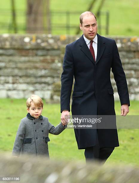 Prince George of Cambridge and Prince William Duke of Cambridge attend Church on Christmas Day on December 25 2016 in Bucklebury Berkshire