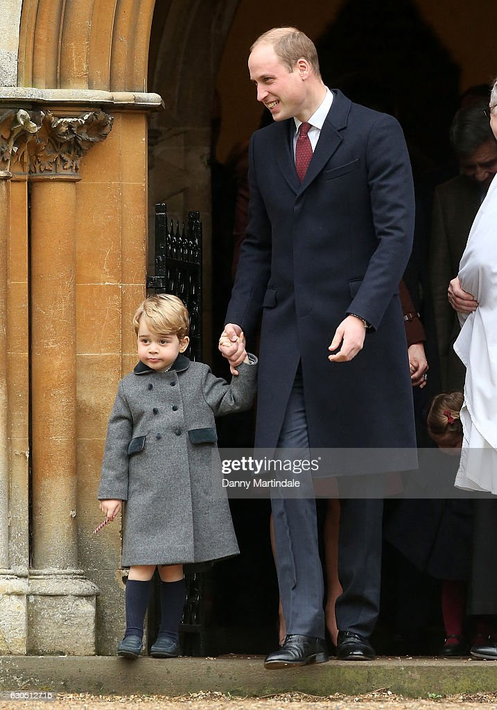 Prince George of Cambridge and Prince William, Duke of Cambridge attend Church on Christmas Day on December 25, 2016 in St Marks' Church in Englefield, Berkshire.