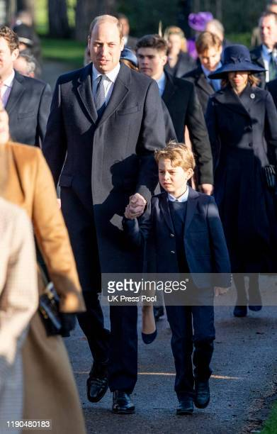 Prince George of Cambridge and Prince William, Duke of Cambridge attend the Christmas Day Church service at Church of St Mary Magdalene on the...