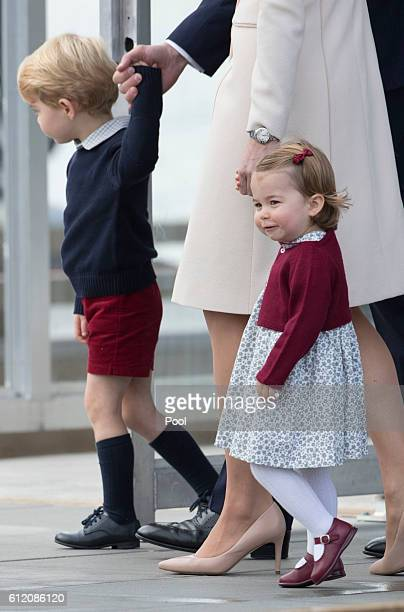 Prince George of Cambridge and Princess Charlotte leave from Victoria Harbour to board a seaplane on the final day of their Royal Tour of Canada on...