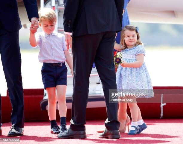 Prince George of Cambridge and Princess Charlotte of Cambridge arrive at Berlin Tegel Airport during an official visit to Poland and Germany on July...