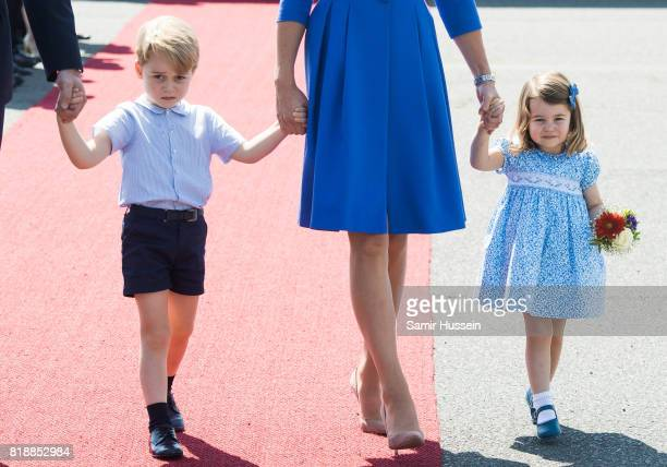 Prince George of Cambridge and Princess Charlotte of Cambridge arrive at Berlin military airport during an official visit to Poland and Germany on...