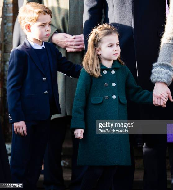 Prince George of Cambridge and Princess Charlotte of Cambridge attend the Christmas Day Church service at Church of St Mary Magdalene on the...