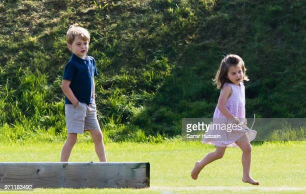 Prince George of Cambridge and Princess Charlotte of Cambridge attend the Maserati Royal Charity Polo Trophy at Beaufort Park on June 10 2018 in...