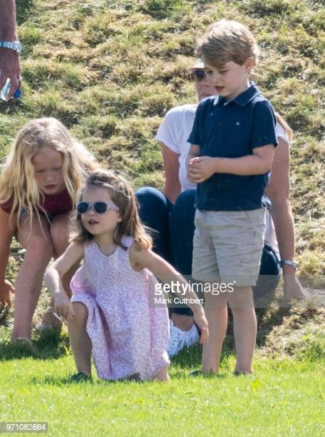 Prince George of Cambridge and Princess Charlotte of Cambridge during the Maserati Royal Charity Polo Trophy at Beaufort Park on June 10 2018 in...