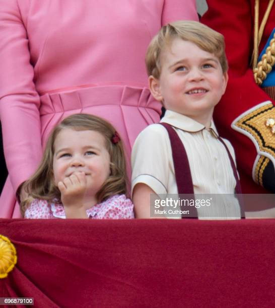 Prince George of Cambridge and Princess Charlotte of Cambridge on the balcony at Buckinghgam Palace during the annual Trooping The Colour parade on...