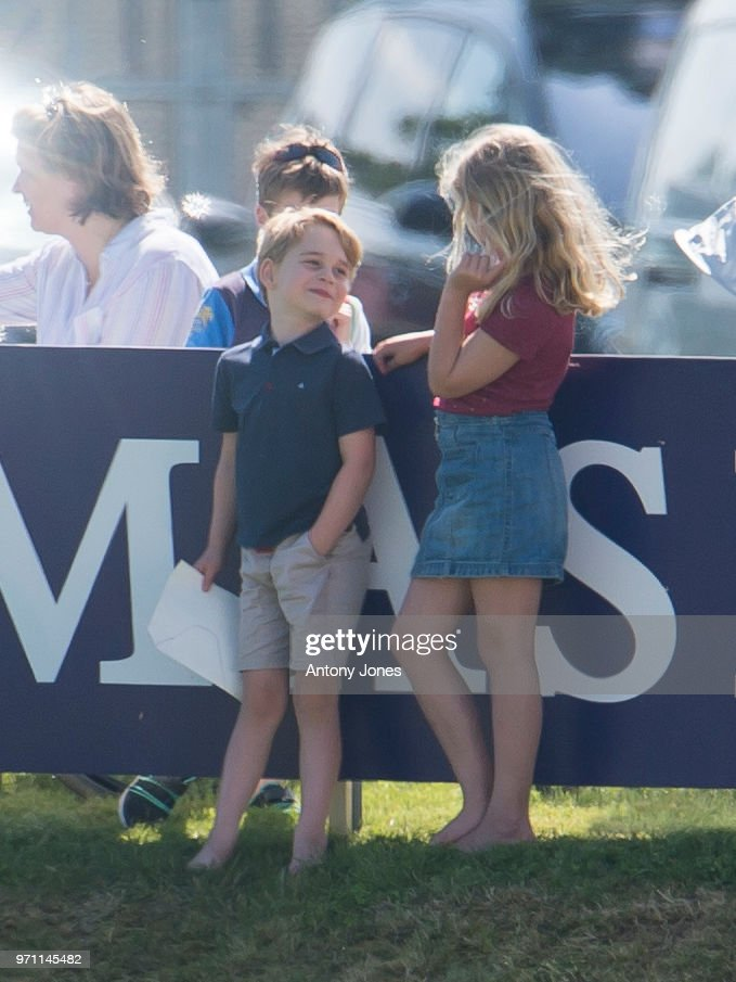 Prince George of Cambridge and Savannah Phillips attend the Maserati Royal Charity Polo Trophy at Beaufort Park on June 10, 2018 in Gloucester, England.