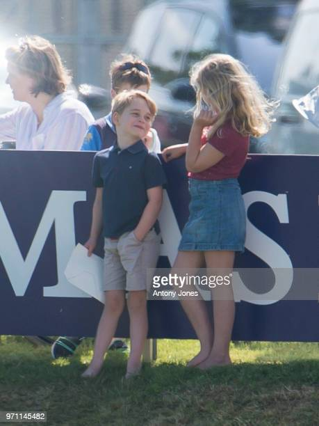 Prince George of Cambridge and Savannah Phillips attend the Maserati Royal Charity Polo Trophy at Beaufort Park on June 10 2018 in Gloucester England