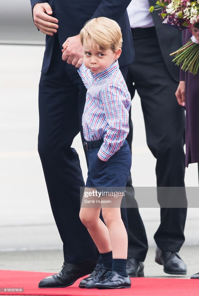 Prince George of Cambridge arrive at Warsaw airport during an official visit to Poland and Germany on July 17, 2017 in Warsaw, Poland.