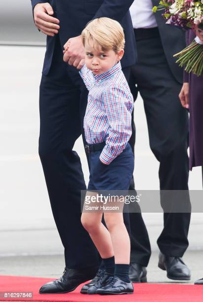 Prince George of Cambridge arrive at Warsaw airport during an official visit to Poland and Germany on July 17 2017 in Warsaw Poland