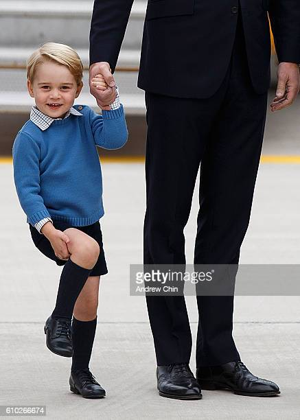Prince George of Cambridge arrives at 443 Maritime Helicopter Squadron on September 24, 2016 in Victoria, Canada.