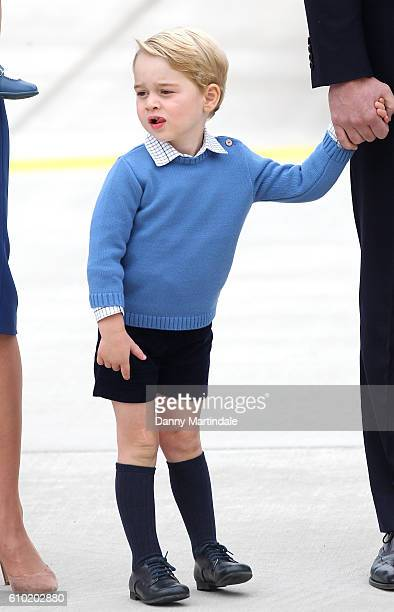 Prince George of Cambridge arrives at the Victoria Airport on September 24, 2016 in Victoria, Canada. Prince William, Duke of Cambridge, Catherine,...