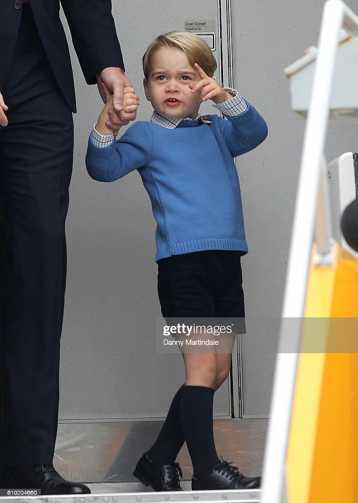 Prince George of Cambridge arrives at the Victoria Airport on September 24, 2016 in Victoria, Canada. Prince William, Duke of Cambridge, Catherine, Duchess of Cambridge, Prince George and Princess Charlotte are visiting Canada as part of an eight day visit to the country taking in areas such as Bella Bella, Whitehorse and Kelowna.