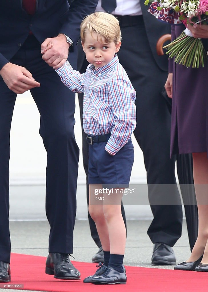 Prince George of Cambridge arrives at Warsaw airport during an official visit to Poland and Germany on July 17, 2017 in Warsaw, Poland.