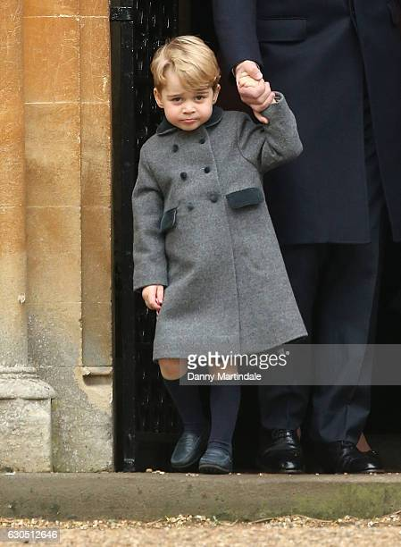 Prince George of Cambridge attend Church on Christmas Day on December 25 2016 in Bucklebury Berkshire