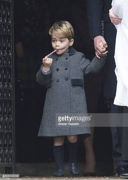 Prince George of Cambridge attends a Christmas Day service at St. Marks Church on December 25, 2016 in Englefield, England.