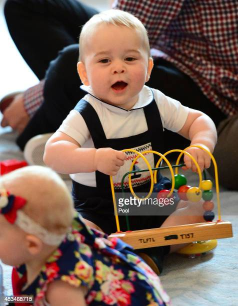 Prince George of Cambridge attends Plunkett's Parent's Group at Government House on April 9, 2014 in Wellington, New Zealand. The Duke and Duchess of...