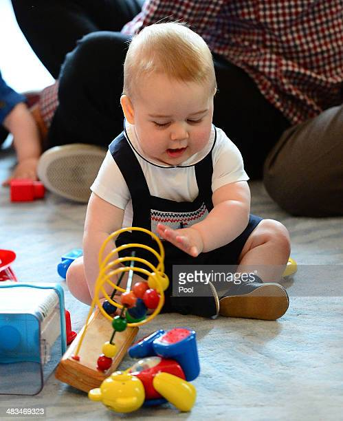 Prince George of Cambridge attends Plunkett's Parent's Group at Government House on April 9 2014 in Wellington New Zealand The Duke and Duchess of...