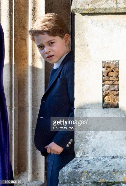 Prince George of Cambridge attends the Christmas Day Church service at Church of St Mary Magdalene on the Sandringham estate on December 25, 2019 in...