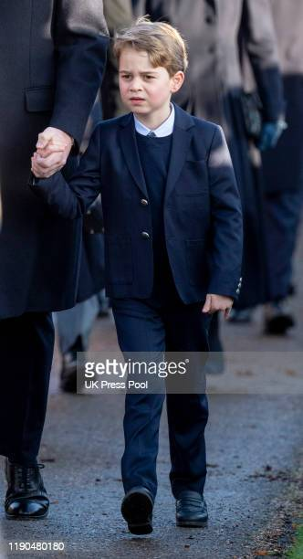 Prince George of Cambridge attends the Christmas Day Church service at Church of St Mary Magdalene on the Sandringham estate on December 25 2019 in...