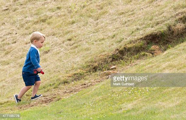Prince George of Cambridge attends the Gigaset Charity Polo Match at Beaufort Polo Club on June 14 2015 in Tetbury England