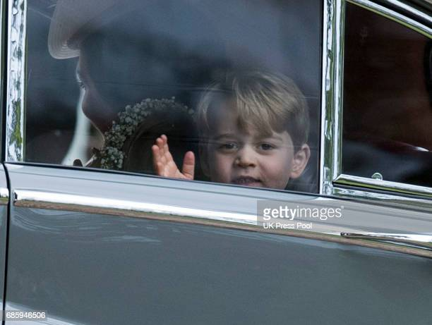 Prince George of Cambridge attends the wedding of Pippa Middleton and James Matthews at St Mark's Church on May 20, 2017 in Englefield Green, England.