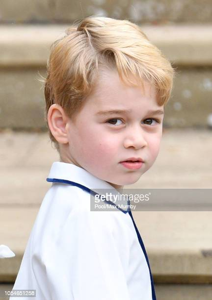 Prince George of Cambridge attends the wedding of Princess Eugenie of York and Jack Brooksbank at St George's Chapel on October 12, 2018 in Windsor,...