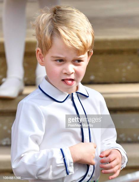 Prince George of Cambridge attends the wedding of Princess Eugenie of York and Jack Brooksbank at St George's Chapel on October 12 2018 in Windsor...