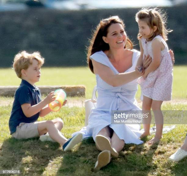 Prince George of Cambridge, Catherine, Duchess of Cambridge and Princess Charlotte of Cambridge attend the Maserati Royal Charity Polo Trophy at the...