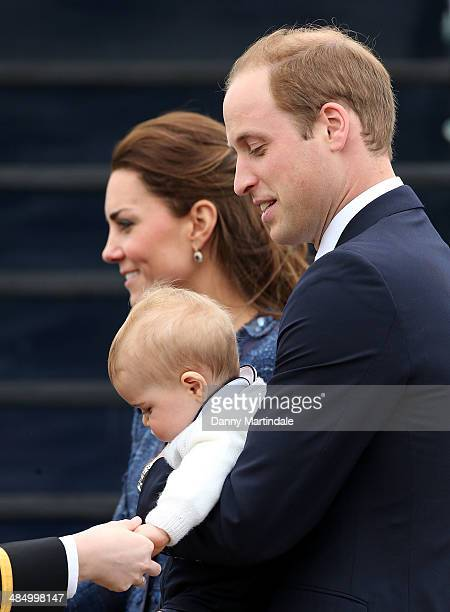 Prince George of Cambridge Catherine Duchess of Cambridge and Prince William Duke of Cambridge depart Wellington Airport on April 16 2014 in...