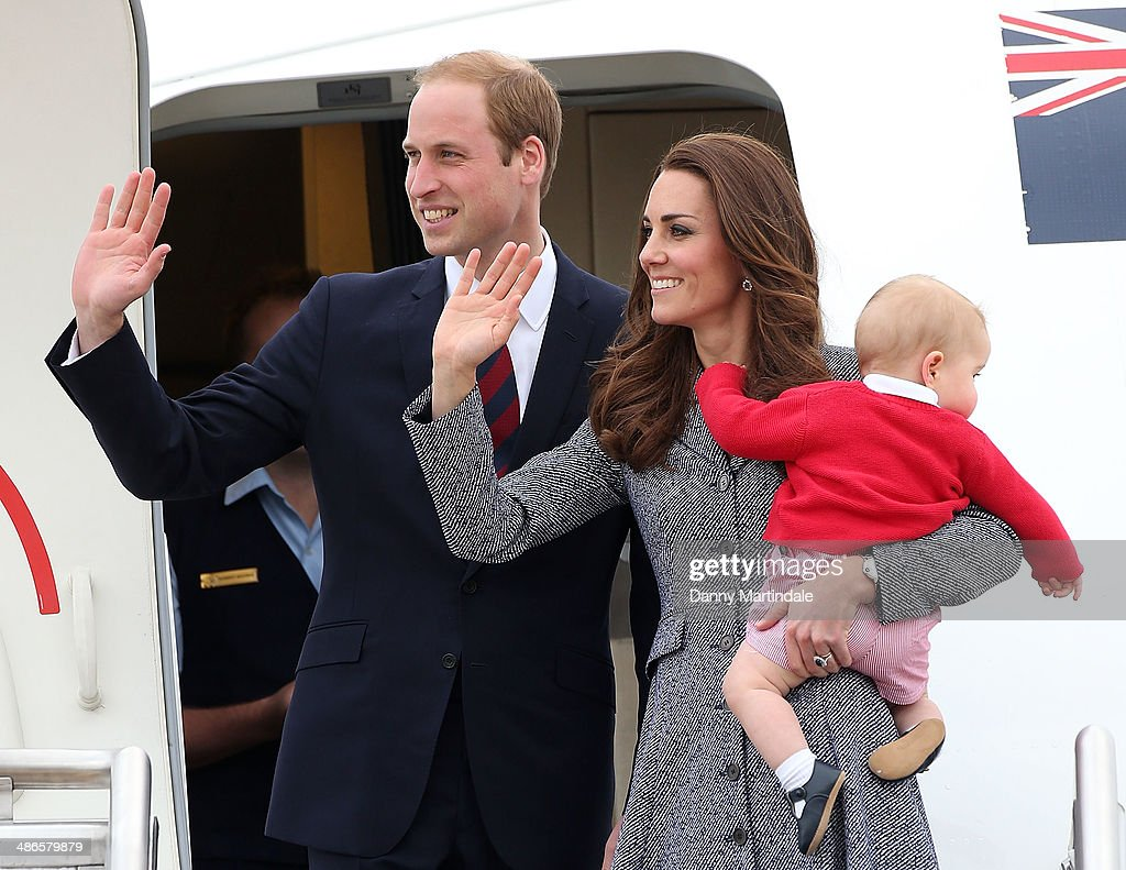 Prince George of Cambridge, Catherine, Duchess of Cambridge and Prince William, Duke of Cambridge depart Fairbairn Defence Base on April 25, 2014 in Canberra, Australia. The Duke and Duchess of Cambridge are on a three-week tour of Australia and New Zealand, the first official trip overseas with their son, Prince George of Cambridge.