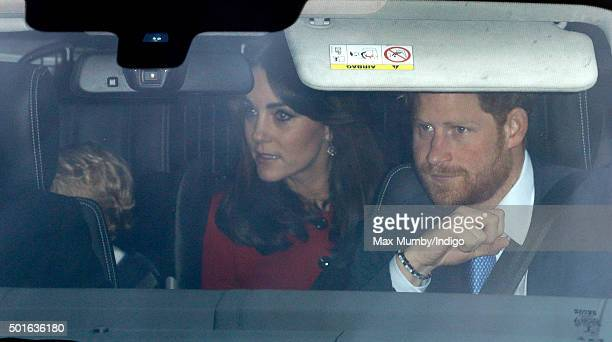 Prince George of Cambridge Catherine Duchess of Cambridge and Prince Harry attend a Christmas lunch for members of the Royal Family hosted by Queen...