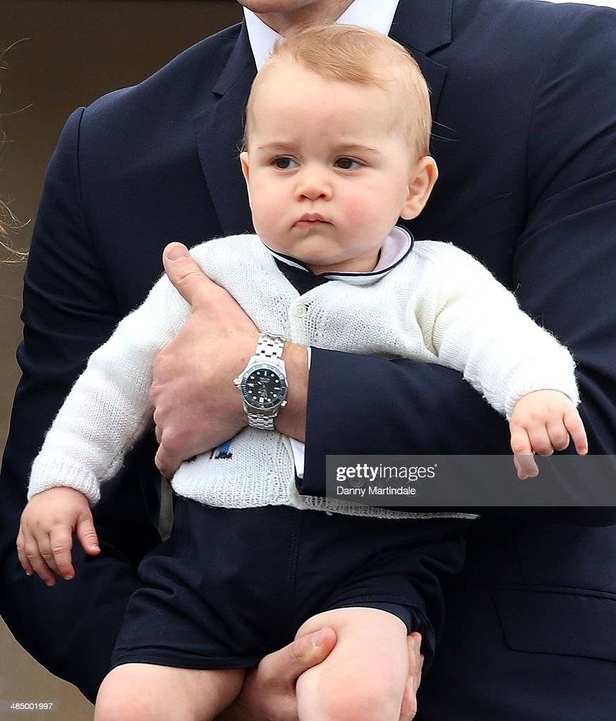 Prince George of Cambridge departs Wellington Airport on April 16, 2014 in Wellington, New Zealand. The Duke and Duchess of Cambridge are on a three-week tour of Australia and New Zealand, the first official trip overseas with their son, Prince George of Cambridge.