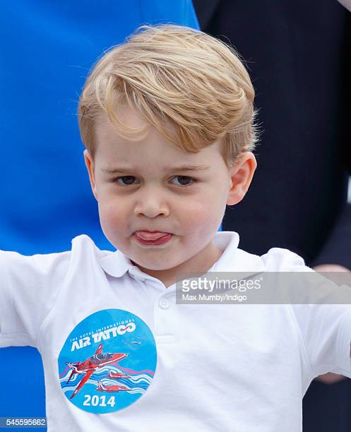 Prince George of Cambridge disembarks an Australian Air Force plane as he visits the Royal International Air Tattoo at RAF Fairford on July 8 2016 in...
