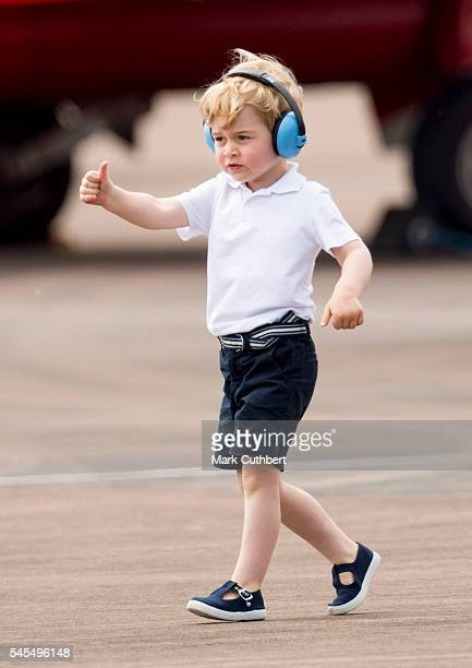 Prince George of Cambridge during a visit to The Royal International Air Tattoo at RAF Fairford on July 8, 2016 in Fairford, England.