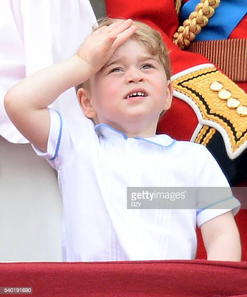 Prince George of Cambridge during the Trooping the Colour, this year marking the Queen's official 90th birthday at The Mall on June 11, 2016 in...