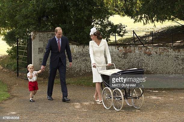 Prince George of Cambridge his mother Britain's Catherine Duchess of Cambridge pushing her daughter Princess Charlotte of Cambridge in her pram and...